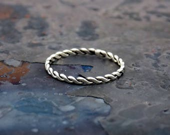 Sterling Silver Tight Twist Half Flat Ring by Navillus Metal Works: Simple Band