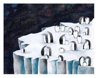 Penguin Galaxy Art Print   Wall Art   Children's Illustration   Kid's Room Decor
