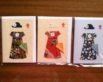 Handmade Origami Lady Parasol Card
