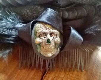 Gothic Muerto Skull Hair Slide with black feathers Wedding special occasion hairwear