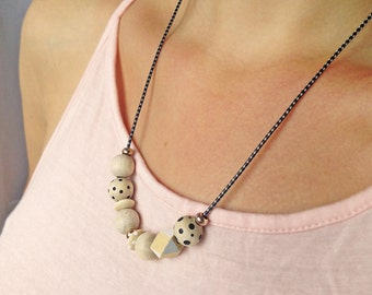 Wooden beads chain / hand / Rosé gold / color / black and white / wax cord