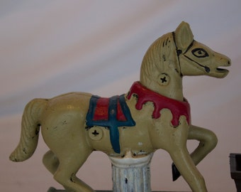 Vintage Reproduction Cast Iron Book of Knowledge Trick Pony Mechanical Bank