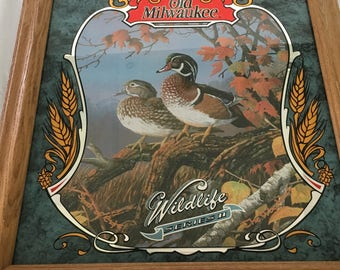 "Vintage Wood Framed Old Milwaukee Wildlife Series 2 The Woodduck Beer Mirror by artist Terry Doughtry - 19"" X 17"""