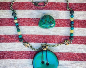 Turquoise big button and bead boho necklace