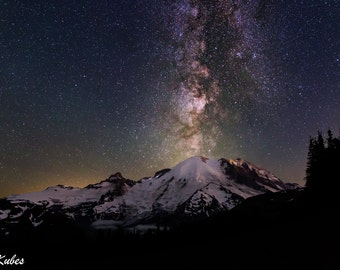 Milky way photography, astrophotography,mount rainier photography,night photography,star photography, fine art photography,canvas art,wall