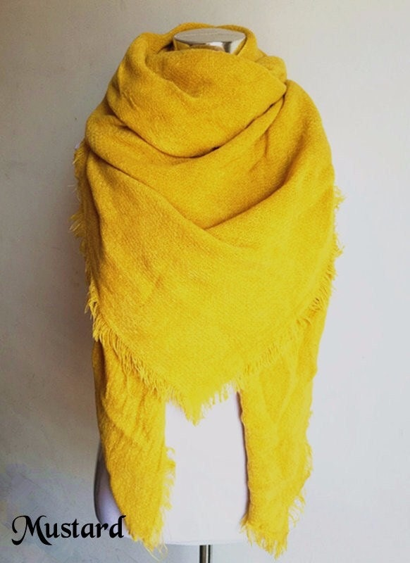solid colored mustard blanket scarf