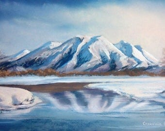 Mountains Painting | Original Mountains Art | Mountains Pastel Painting | Kamchatka Mountains | Russia Landscape | Landscape Painting |
