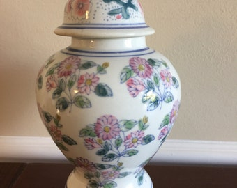 Adorable pink, blue and green floral ginger jar with lid- Palm Beach Regency, Home Decor, Centerpiece, Vase, Handpainted