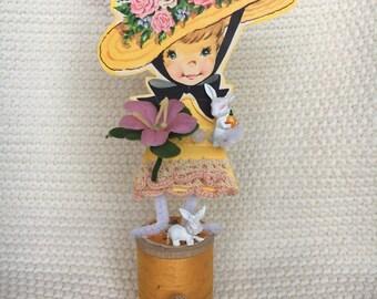 Vintage Easter Girl Thread Spool Doll