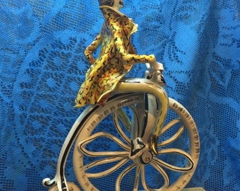 Man On Penny Farthing Bicycle Porcelain Figurine Signed Italy