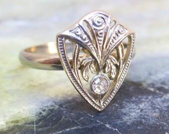 Vintage Diamond Ring, Art Deco White Gold and Diamond Shield Ring, Vintage Engagement Ring