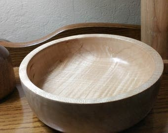 figured maple bowl 5 1/2 inches by 2 inches deep inside