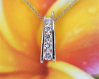 Cubic Zirconia Pendant, Sterling Silver Clear CZ Channel Set Pendant Necklace With 18 inch Cable Chain, N2439