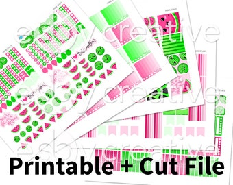 Sale - 25% Off! Kawaii Watermelon Theme - Weekly Sticker Kit Printable for Erin Condren Horizontal - HWK-016 - INSTANT DOWNLOAD