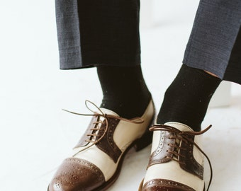 Orson W. Mens Oxfords Shoes-Handmade shoes- Leather shoes-Walnut & White color- mens Oxford shoes-men shoes-custom shoes-shoes