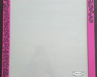 pink picture frame, swirl design, large frame