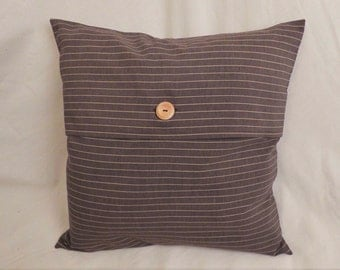 Brown Pinstriped Envelope Cushion Cover