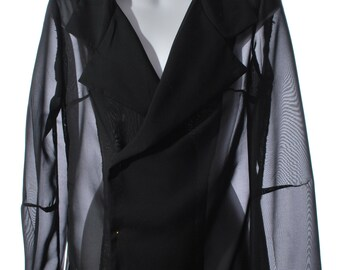 black chiffon jacket double breasted with long sleeves // black sheer jacket // see through jacket // chiffon jacket // evening jacket