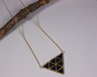"""Necklace """"black golden triangle"""""""