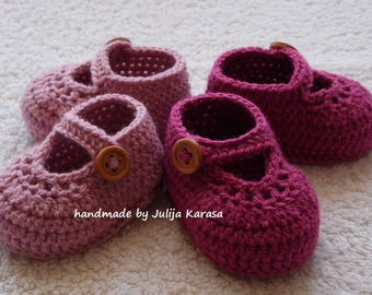 Baby shoes crochet, baby girl slippers, twins shoes, baby shower gift, twin girls shoes, crochet baby booties, two pair baby shoes