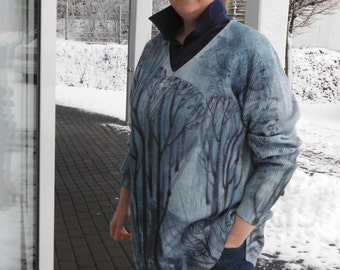 "Handpainted sweaters ""Blue landscape"""