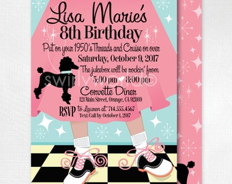 Retro 1950s Birthday Party, 50s Theme Invitations, Sock Hop 1950s, Pink Ladies Poodle Skirt 50s Party, Flashback 50's Invitations, DI200FC