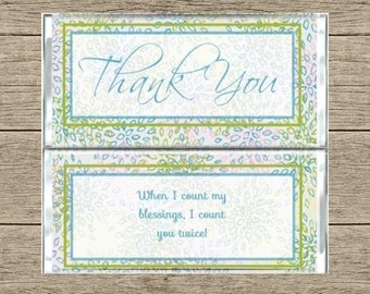 Thank You Chocolate Bar Wrapper-Thank You Candy Bar Wrapper-Personalized Chocolate Bar Wrapper-Customized Chocolate Bar Wrapper-Custom Candy