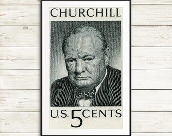 Winston Churchill, Churchill portrait, Churchill art, World War 2, WW2, WW2 posters, WW2 history, US history poster, World War 2 art