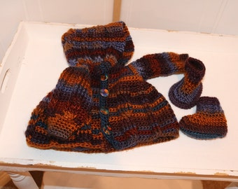 Baby Boy's Hooded Cardigan with Booties for 0 to 3 months old.