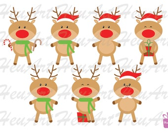 NEW Cute Reindeer Clipart - Cute Christmas Reindeer, Reindeer Printables, Reindeer Stickers, Reindeer DIY, Reindeer Artwork,Reindeer Digital