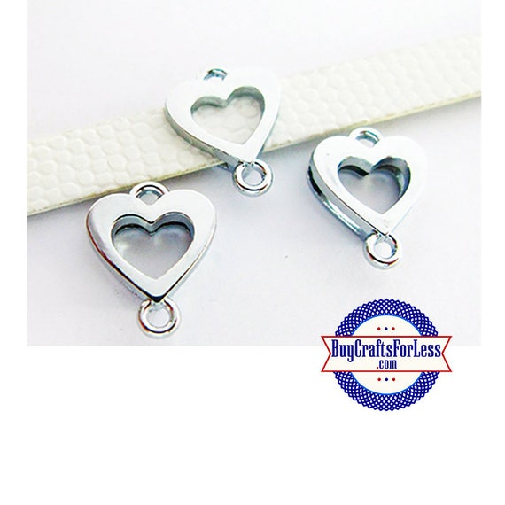Heart Charm Ring for 8mm Slider Bracelets, Collars, Key Rings, 2 pcs +FREE Shipping & Discounts*