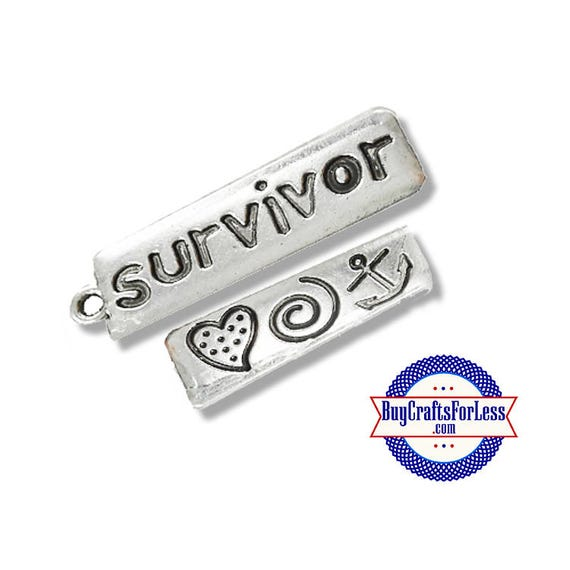 SURVIVOR Charms, 2 pcs  **99cent shipping-FREE with orders 10 dollars+**