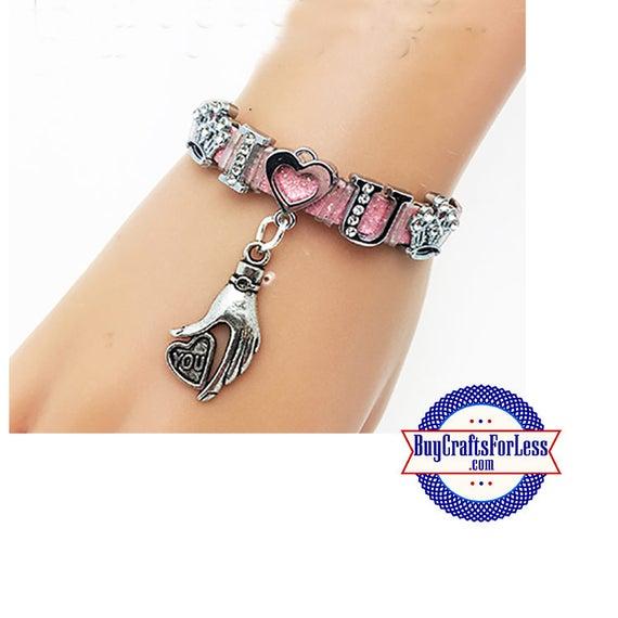 I LOVE U Bracelet with RHiNESTONE Letters  +FREE SHiPPiNG & Discounts*