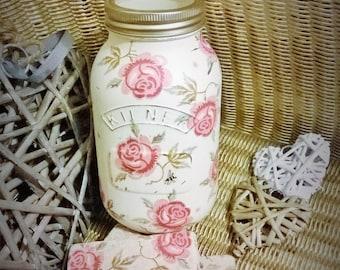 Chalk Painted Rose and Bee Mason Jar