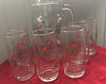 Vintage Red Roses Pitcher with 6 glasses