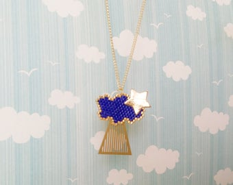 Original leather star and cloud hand woven necklace