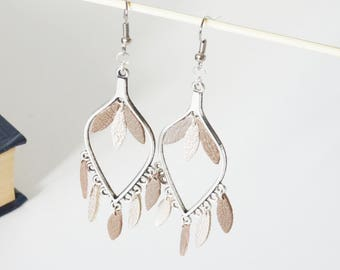 Dangling earrings drops real leather
