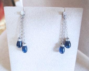 Sapphire drop earrings cabochon 0.44 ct 12.00 ct brilliant diamonds Carat white gold