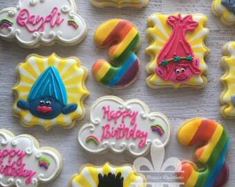 1 Dozen Trolls Cookies