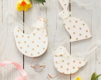 Easter Decorations - White and Gold Decorations - Chicken Hen Rabbit