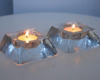 Set of two glass tea light holderd, scandinavian design, moulded glass in a mottled ice effect.