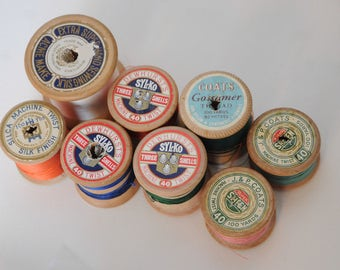 Vintage Wooden Cotton Reels collection of 8