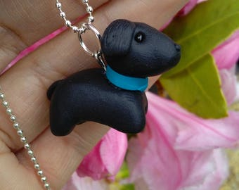 Polymer clay dog necklace, gift, handmade, dog lovers, dog charm, jewellery