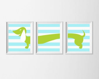 Dachshund Art Printable, Neutral Nursery Art Blue Lime Green, Doxie Wall Art, Nursery Boy Girl Set of 3 Wall Art, Wiener Dog Art Bathroom