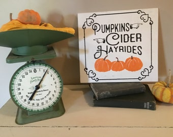 Thanksgiving Wood Sign - Pumpkins, Cider and Hayrides Sign - Home Decor - Hand Painted Sign - Fall Decor Sign