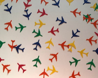 Primary Color Airplane Confetti - Airplane Birthday Decorations - Primary Color Decorations - Time Flies Birthday Party Decorations