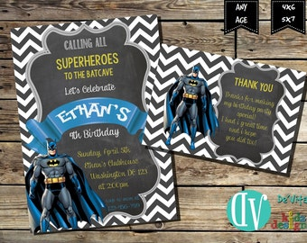 Batman Birthday Invitation 5x7 or 4x6 and FREE Thank You Card Printable 5x3.5