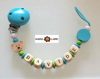 Pacifier holder with baby name