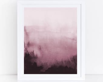 Pink Abstract Art, Pink Watercolor Print, Modern Watercolor Print, Living Room Wall Art, Modern Abstract Print, Printable Abstract Print