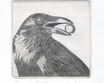 """Original etching """" Raven"""""""